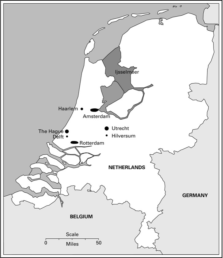 The cities in the ring form the Randstad Holland described in the text