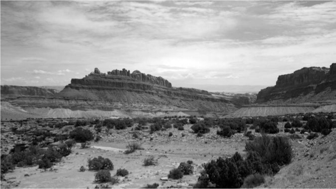 Desert landscape typical of the American Southwest. Modified from an image created by Alanthebox, courtesy of Wikimedia Commons, under Universal Public Domain