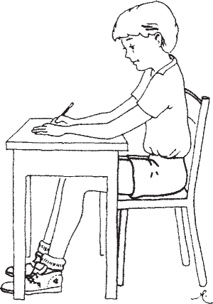 The ideal sitting position for writing. The back is straight, the forearms rest comfortably on the writing surface, and the feet are flat on the floor with the knees comfortably flexed
