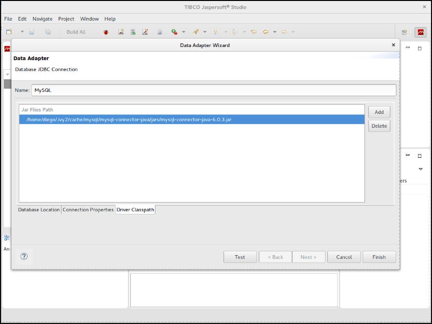 Configuring MySQL Data Adapter in Jaspersoft Studio