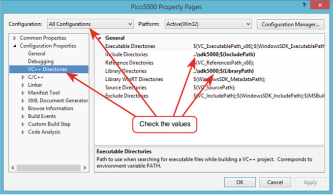 Visual Studio project setup—include and library directory paths