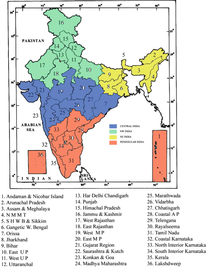 meteorological subdivisions of India and the four homogeneous regions, viz