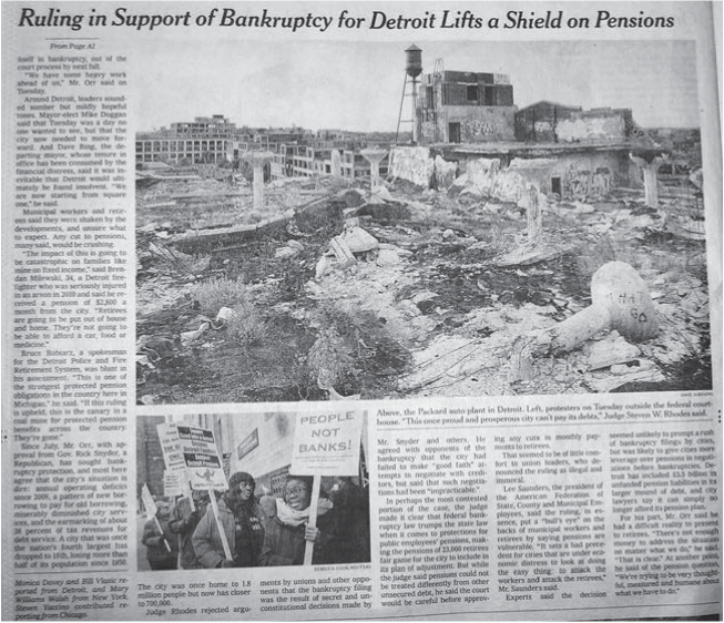 "New York Times, continuation on page 20 of ""Detroit Ruling Lifts a Shield on Pensions,"" with photos of Packard Plant by Dave Jordano and courthouse demonstration by Rebecca Cook/Reuters"
