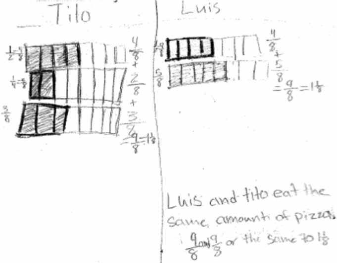 Student work using equivalent fractions to combine. Source