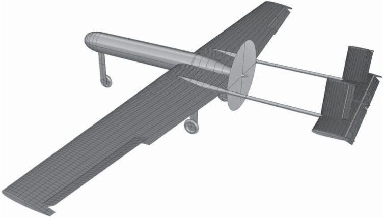 AirCONICS model of complete Decode-1 airframe with control surfaces, undercarriage, and propeller disk