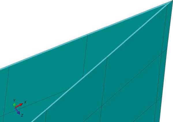 Abaqus model of glass-fiber wing cover created with CAD shell commands and meshed with continuum shell hex elements. Note the wedge elements used for the sharp trailing edge
