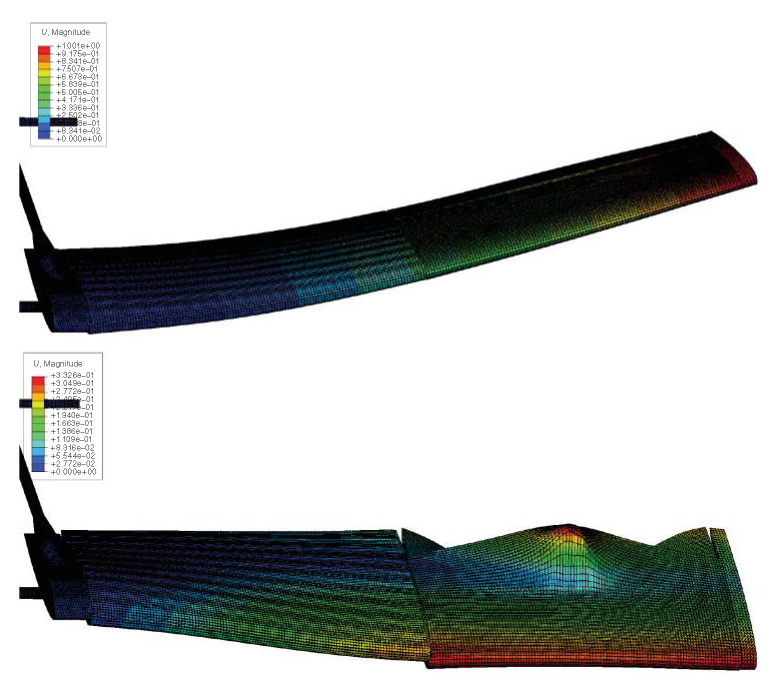 Abaqus plots of first flap and twist modes for Decode-1 wing