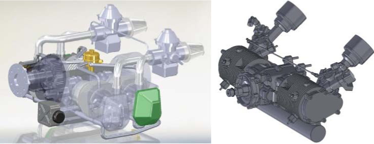 Example 3D models of Rotax aircraft engine and RCV UAV engine. Courtesy of Chris Bill and RCV Engines Ltd