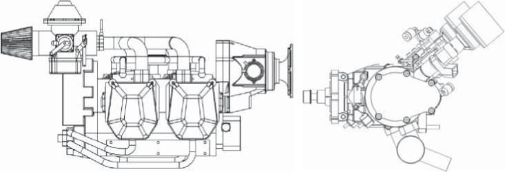 D side elevations of Rotax aircraft engine and RCV UAV engine. Courtesy of Chris Bill and RCV Engines Ltd