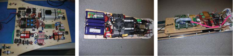 Typical plywood avionics boards with equipment mounted. Note dual layer system with antivibration mounts in last image