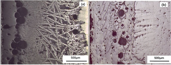 The section features of HB a and TB b slag films (optical micrographs)