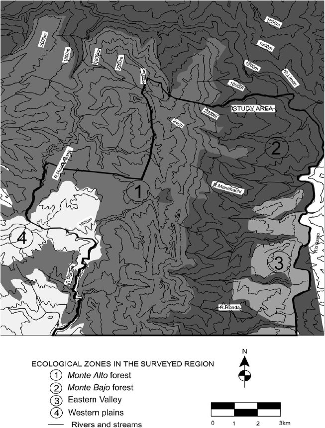 Region of Khosko Toro showing the main ecological zones (Bolivian Chaco). The map also shows the ancient settlements located in the survey