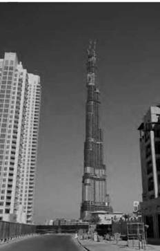 The Burj Dubai skyscraper is the world's tallest building at 2,064 feet (629 meters).