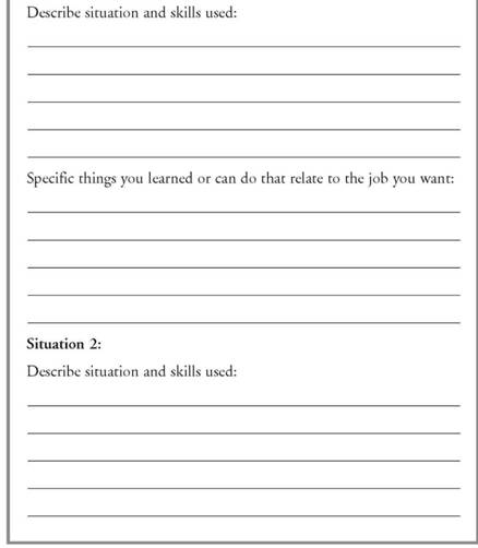 Other Life Experiences Worksheet