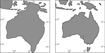 Approximate position of the Australian coastline 20 000 years BP (left) and the present day (right)