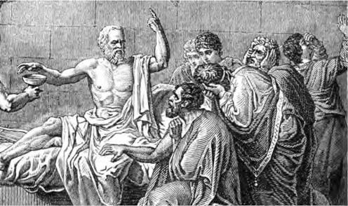 Socrates' death is depicted in this 1876 engraving. He was convicted in a trial for not having the correct belief in the gods and for