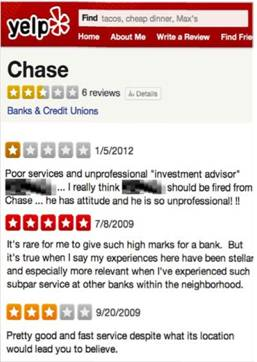 Both Positive and Negatives Reviews on Chase's Yelp Profile