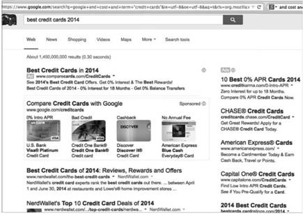 A Search for Credit Cards Reveals Many Paid Ads
