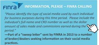 FINRA's Letter to Broker/Dealers on Social Media Practices